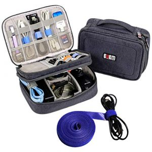 Twod Electronic Organizer Travel Universal Accessories Storage Bag Portable for Hard Drives, Cables, Memory Sticks…